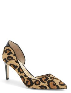 Amp up the fierce-factor with these leopard print d'Orsay pointy toe pumps that would look so fabulous with a pair of leather leggings!