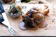 Braised Pork shank Hull with dark rum sauce and kiwi, garnished with baked potato stuffed with katiki Domokos and herbs. Paparouna Wine Restaurant & Cocktail Bar   Sunday cooking !!!