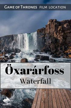 """Öxarárfoss Waterfall is a natural attraction at Þingvellir National Park in southwest Iceland. Its water runs over Almannagjá Gorge, the """"Bloody Gate"""" in Game of Thrones. Adventure Hotel, Hbo Tv Series, Waterfall Trail, Famous Waterfalls, Thingvellir National Park, Iceland Waterfalls, Continental Divide, Ice Climbing, Top Hotels"""