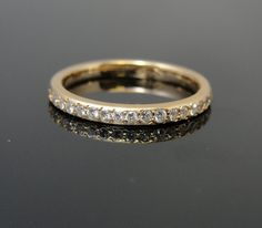 Antique 14k Rose Gold Wedding Band with Diamond Inlay
