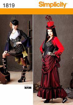 Simplicity Pattern Steam Punk costume Dress bustier Corset Tiered Skirt TheOldOwl, $8.99