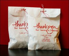thank you gifts -printed right on a white bag.  I just made about 30 thank you gifts for church, and used this idea.  They turned out really cute.  It was really easy to print right on the bag.  This gives me so many ideas of different things I can print on bags.