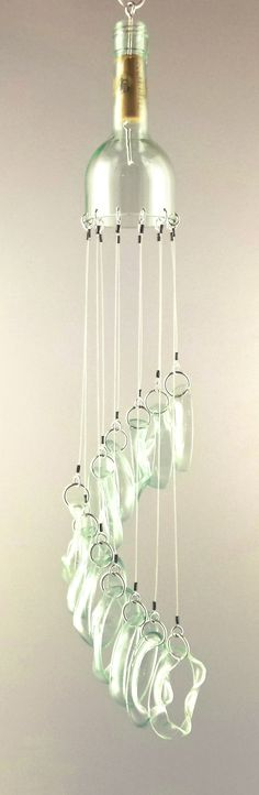 """Crystal Stair"" Up-Cycled Bottle Glass Chimes"