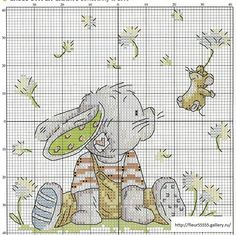 Cross-stitch Somebunny - Dandelion Wishes. no color chart available, just use the pattern chart as your color guide. Cross Stitch For Kids, Cross Stitch Cards, Cross Stitch Baby, Cross Stitch Animals, Cross Stitching, Cross Stitch Embroidery, Embroidery Patterns, Cross Stitch Designs, Cross Stitch Patterns