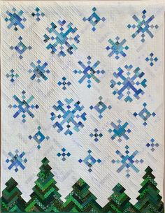 PDF Quilt Pattern -- Digital Pattern for New Slant on Snowflakes quilt; holiday quilt Want to buy by july Christmas Quilt Patterns, Patchwork Quilt Patterns, Scrappy Quilts, Patchwork Bags, Sewing Patterns, Quilting Patterns, Quilting Ideas, Quilting Room, Mini Quilts