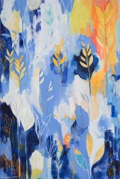 """Print of """"Soothing Blue and Yellow Leaves"""" Original Acrylic Painting ~ Botanical Abstract Blue Yellow Orange Leaf Meditation"""
