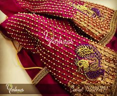 Beautiful maroon color designer blouse with hand embroidery swan design thread work. Please reach on 7550227897 / 044 42037313 for any customization. Gold inspired blouse design compliments traditional silk saree worn by elegant Chaitra Reddy . Hand Work Blouse Design, Simple Blouse Designs, Stylish Blouse Design, Blouse Neck Designs, Sleeve Designs, Blouse Styles, Wedding Saree Blouse Designs, Pattu Saree Blouse Designs, Sari Blouse