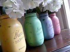 Shabby Chic Mason Jar Vases on etsy!  Cute centerpieces!