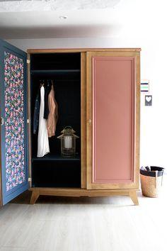 Coral Painted Furniture, Cute Furniture, Wardrobe Furniture, Refurbished Furniture, Upcycled Furniture, Furniture Makeover, Furniture Design, Flat Ideas, Vintage Wardrobe