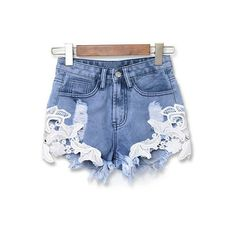 (18.34$) 2017 Women Sexy Lace Crochet High Waist Shorts Summer Casual Blue Denim Shorts Vintage Jeans Hot Shorts