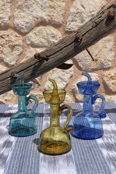 Blown glass oil servers made in the glasswork of Gordiola, Mallorca. Go ahead and get some: greetingsfrommallorca.com