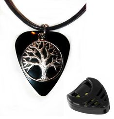 Black tree charm guitar pick necklace + free plectrum holder size 17 to 19 inch #Unbranded #Pendant Guitar Pick Necklace, Black Tree, Charmed, Pendant, Bracelets, Free, Ebay, Jewelry, Jewels