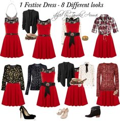 """""""1 Festive Dress ~ 8 Great Looks"""" by tamikaauwai on Polyvore"""