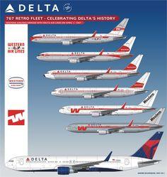 Delta Air Lines B767   retro fleet