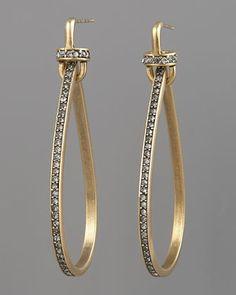 Pave Teardrop Hoop Earrings by Paige Novick at Neiman Marcus.