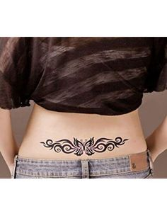 Women's Lady Flower Butterfly Temporary Tattoos Stickers Body Art Fashion or Halloween Zombie Scar Tattoos – tattoo Tribal Tattoos For Women, Hawaiian Tribal Tattoos, Back Tattoo Women, Tattoos For Women Small, Small Tattoos, Sexy Tattoos, Cute Tattoos, Body Art Tattoos, Girl Tattoos