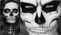 halloween face painting idea women skull black white