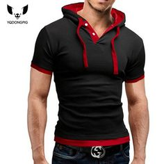 Hombres Camiseta 2016 de Moda de Verano Con Capucha de la Honda de Manga Corta Camisetas, hombre Camisa Masculina Camiseta Delgada Tops 4XL el Caso Adong