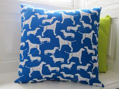 Cool Dog Print Cushion Cobalt Blue and White by LilyLovesShopping