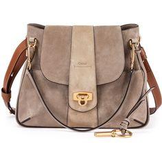 Chloe Lexa Small Shoulder Bag ($1,690) ❤ liked on Polyvore featuring bags, handbags, shoulder bags, grey, genuine leather handbags, shoulder handbags, gray leather purse, shoulder strap handbags and grey leather purse