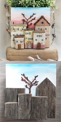 Little houses 8 Driftwood Art Box with Little Houses Driftwood Projects, Driftwood Art, Wooden Art, Wooden Crafts, Zen Art, Beach Crafts, Nature Crafts, Little Houses, Painting On Wood