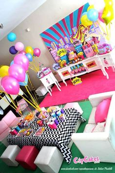 Barbie Themed Birthday Party Partyscape from a Superhero Barbie Birthday Party via Kara's Party Ideas Barbie Birthday Party, Barbie Party, 6th Birthday Parties, Birthday Party Decorations, Girl Birthday, Birthday Ideas, Turtle Birthday, Turtle Party, Carnival Birthday