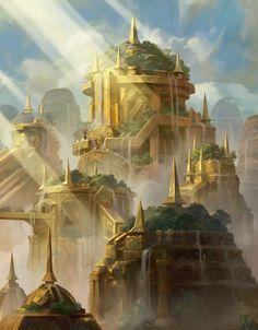 27 ideas for fantasy landscape ruins artists Fantasy City, Fantasy Castle, World Of Fantasy, Fantasy Kunst, Fantasy Places, High Fantasy, Sci Fi Fantasy, Fantasy Art Landscapes, Fantasy Landscape