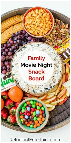 Here's an ultimate movie night snack platter: A Family Movie Night Snack Board with all your favorite family snacks--sweet and savory! Snack Platter, Party Food Platters, Food Trays, Snack Trays, Charcuterie Recipes, Charcuterie And Cheese Board, Cheese Boards, Appetizer Recipes, Snack Recipes