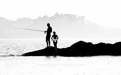 Father and Son Silouette Art, Art Plage, Fish Silhouette, France, Corsica, Father And Son, Mount Everest, Sons, Mountains