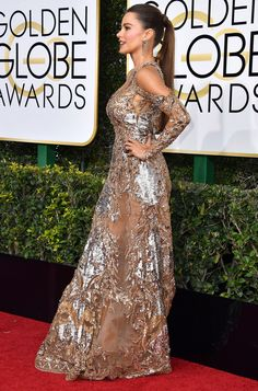 Sofia Vergara Wears Slicked Back Pony and Breaks Her Number One Hair Rule (Again!) At The Globes