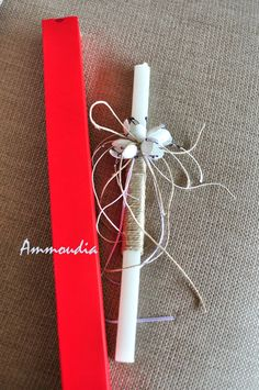 Greek Easter candle-Orthodox Easter candle-lambada-white easter candle with silk cocoon flowers