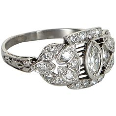 Pre-Owned Antique Deco Diamond Platinum Filigree Ring ($1,495) ❤ liked on Polyvore featuring jewelry, rings, platinum, wide-band diamond rings, vintage rings, antique art deco rings, filigree diamond ring and colorful diamond rings