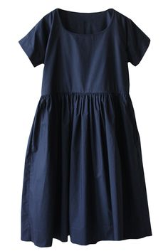 rennes Maria Dress Navy Cotton Poplin