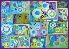 Puddles in the rain. Fill paper with blue, green, and purple. Put outside in the rain for a short time. Paint, cut, and glue circles.
