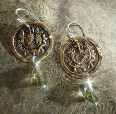 Metal button earrings