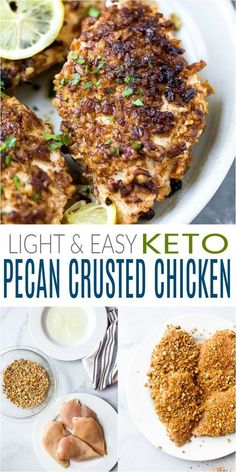 Low Carb Recipes To The Prism Weight Reduction Program Spice Up Your Chicken Recipes With This Light And Easy Keto Pecan Crusted Chicken Recipe. Covered With A Smoky Pecan Mixture And Sauted To Perfection - This Quick Dinner Recipe Will Become A Staple In Stew Chicken Recipe, Easy Crockpot Chicken, Low Carb Chicken Recipes, Gluten Free Chicken, Low Carb Recipes, Healthy Recipes, Cooking Recipes, Pecan Recipes, Healthy Comfort Food
