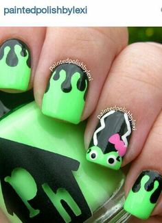 bride of Frankenstein nail art from painted polish by Lexi, I love love love this!