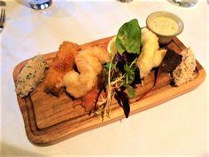 The Brasserie's Fish Platter- Bleikers Smoked Salmon, Mackerel Paté, Tempura King Prawns, Fish Goujons, Dressed Crab & Deep Fried Brie #DevonshireArms #Brasserie #restaurant #starter #food #foodie #restaurant #BoltonAbbey #Yorkshire #YorkshireDales #travel #hotel #localproduce #locallysourced #fish #seafood #cheese #tempura #goujons