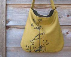 Ecofriendly Hemp Bag with Songbird on Flower Organic by Uzura, $58.00