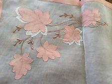 Gorgeous Vintage Madeira Style Pink Organdy & Appliqué Linen Set 17 Pieces