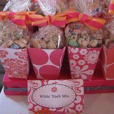 White trash mix dessert.  Displayed them in a handmade mini popcorn box and ribbon.