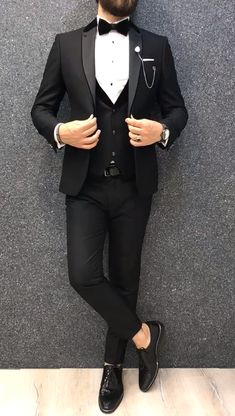 Gio Slim Fit Tuxedo is part of Wedding suits men black - Product vest tuxedo Color code blackSize 464850525456 Suit material viscose poly Machine washable No Fitting Slimfit Remarks Dry Cleaner Season 2019 Spring Wedding Season Suit Indian Men Fashion, Mens Fashion Suits, Mens Suits, Mens Casual Suits, Wedding Dresses Men Indian, Wedding Dress Men, Slim Fit Tuxedo, Tuxedo For Men, Modern Tuxedo