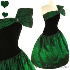 PinupDresses.com Vintage 80s Green Ruffle Taffeta Prom Party Dress S M #Vintage #Dress