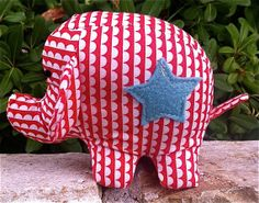 Stuffed Baby Elephant  Small Red White and by TheEvergreenHeart, $17.50
