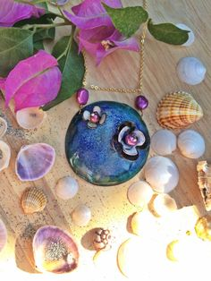 Mint green, powder pink and prussian/ navy blue enamel 'Earth and flowers' short pendant necklace, OOAK artisian enamel necklace Green Powder, Powder Pink, Prussian Blue, Real Pearls, Little Flowers, Enamel Jewelry, Mint Green, Washer Necklace, Copper