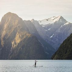 "Milford Sound, New Zealand by Liz Carlson | New Zealand (@youngadventuress) on Instagram: ""I'm having mountain withdrawals 📷 @melissafindley"" #SUP"