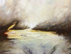 Original oil painting of water and sky