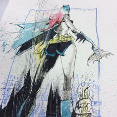 Bat to the bone.  #barbara #batgirl #mixedmedia #gotham #dccomics #nyc #destruction #visualfunk #foodone #jimmahfood