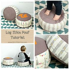 A DIY kids pouf sewing tutorial. How to make a faux bois log slice pillow, perfect handmade pillow for a playroom.