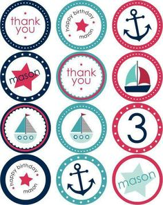 Nautical Party Stickers + Cupcake Toppers by blush printables Printable Labels, Printable Stickers, Party Printables, Planner Stickers, Baby Shower Marinero, Sailor Theme, Bottle Cap Images, Bottle Caps, Nautical Party